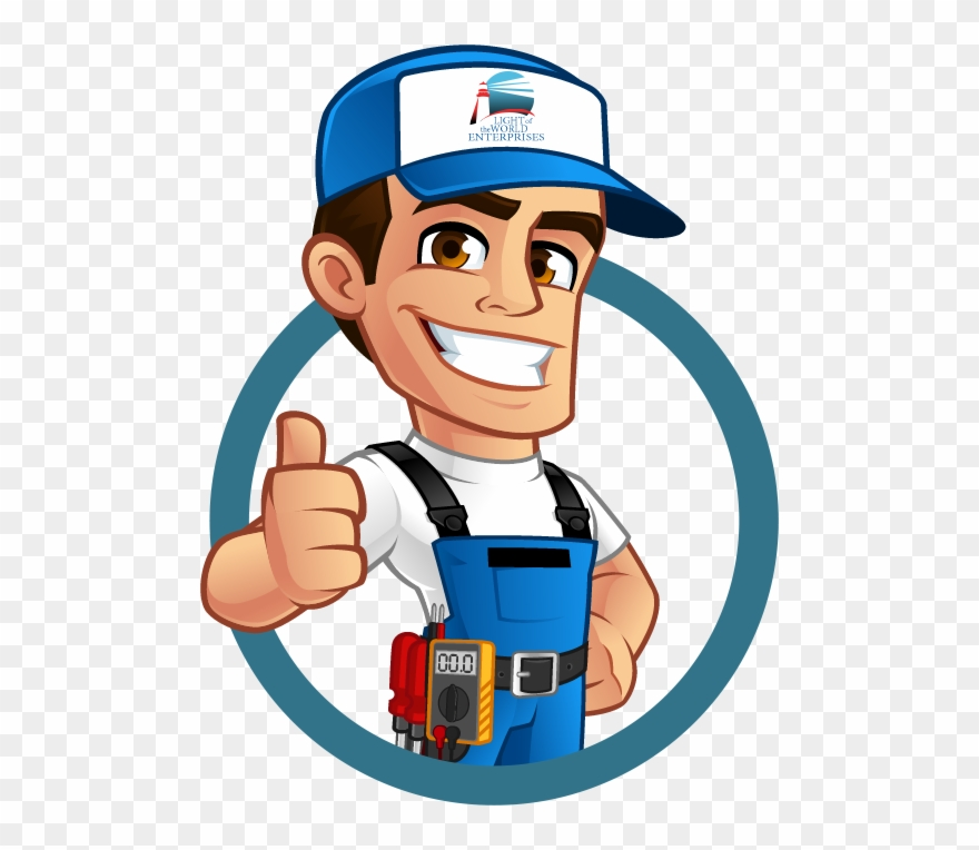 Cartoon electrician clipart graphic black and white stock Electrical Service - Electrician Clipart Png Transparent Png ... graphic black and white stock