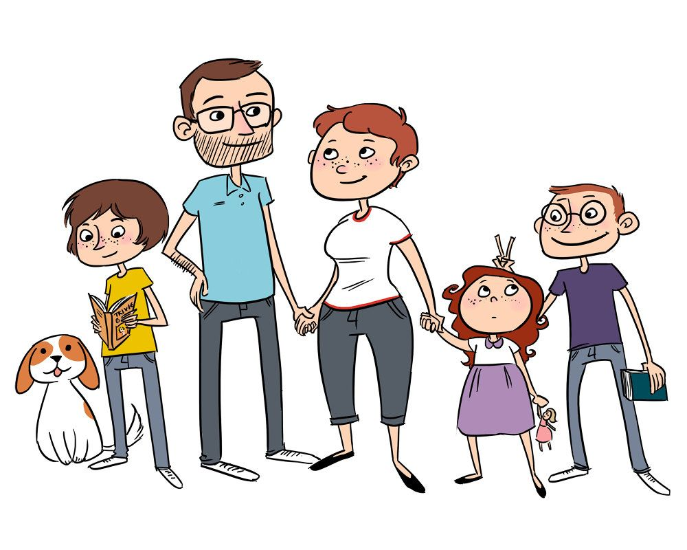 Cartoon family clipart clipart free library Family Members Clipart - Clipart Kid | REAL Kids | Family portraits ... clipart free library
