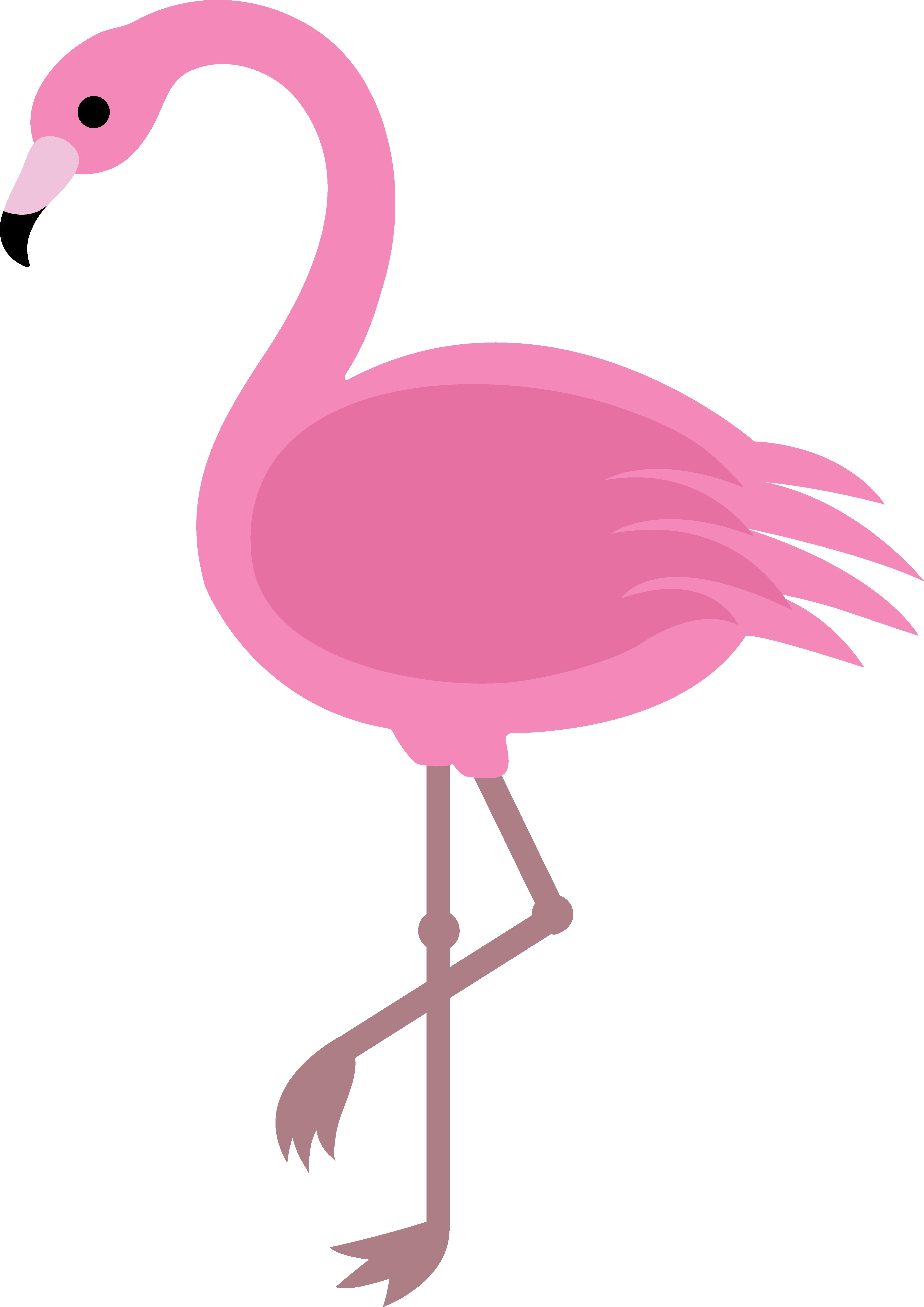Flamingo with santa hat clipart