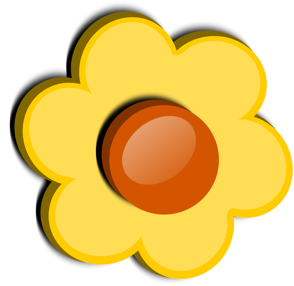 Flower clipart yellow. Free stock photo illustration