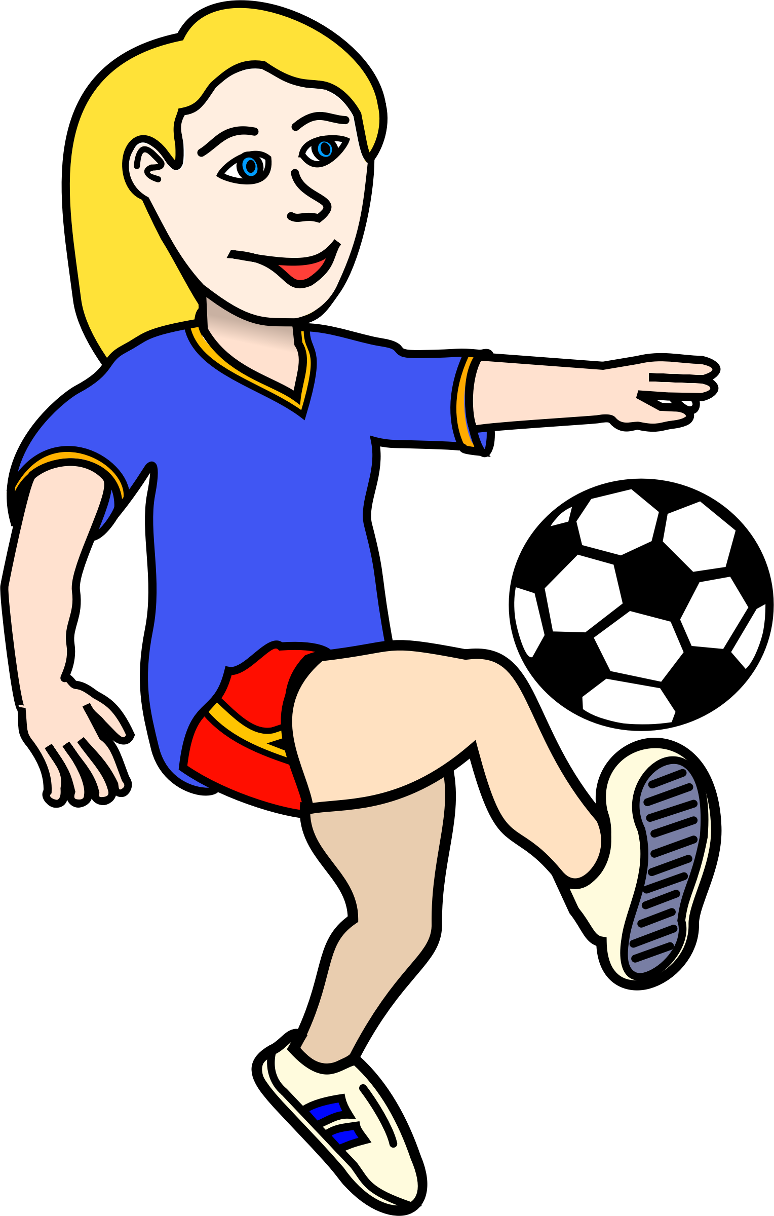 Football cartoons clipart svg free download Clipart - Soccer playing girl coloured svg free download