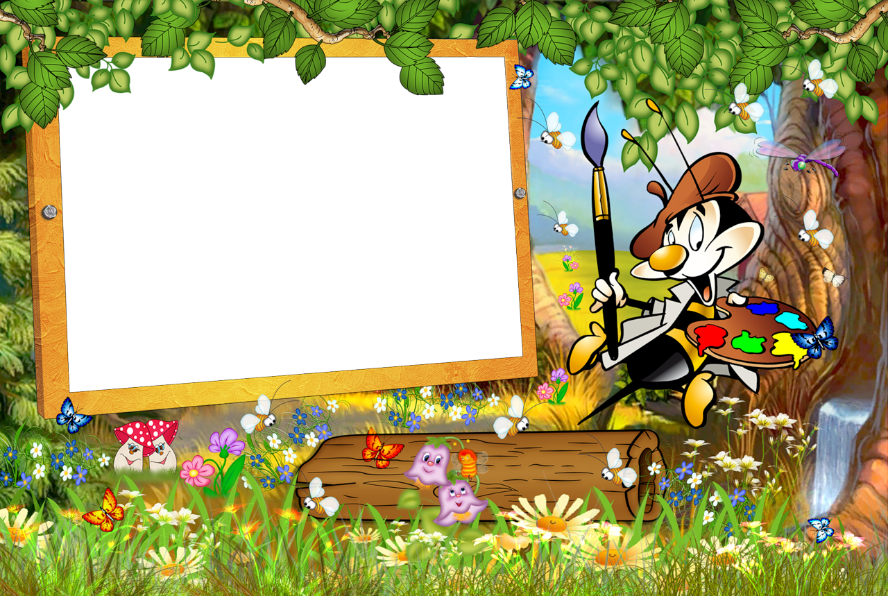 Cartoon photo frame clipart freeuse library Kids Transparent Frame with Cartoon Painter | Gallery Yopriceville ... freeuse library
