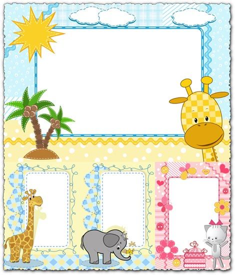Cartoon frames with baby animals vectors | diplome | Frame, Baby ... clipart royalty free library