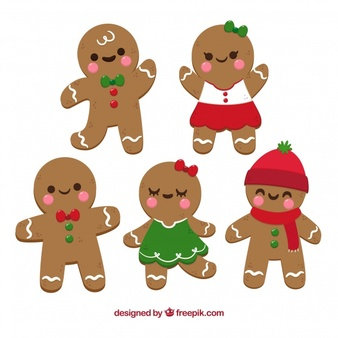 Cartoon gingerbread man clipart jpg transparent library Gingerbread man cookies in cartoon style Vector   Free Download jpg transparent library