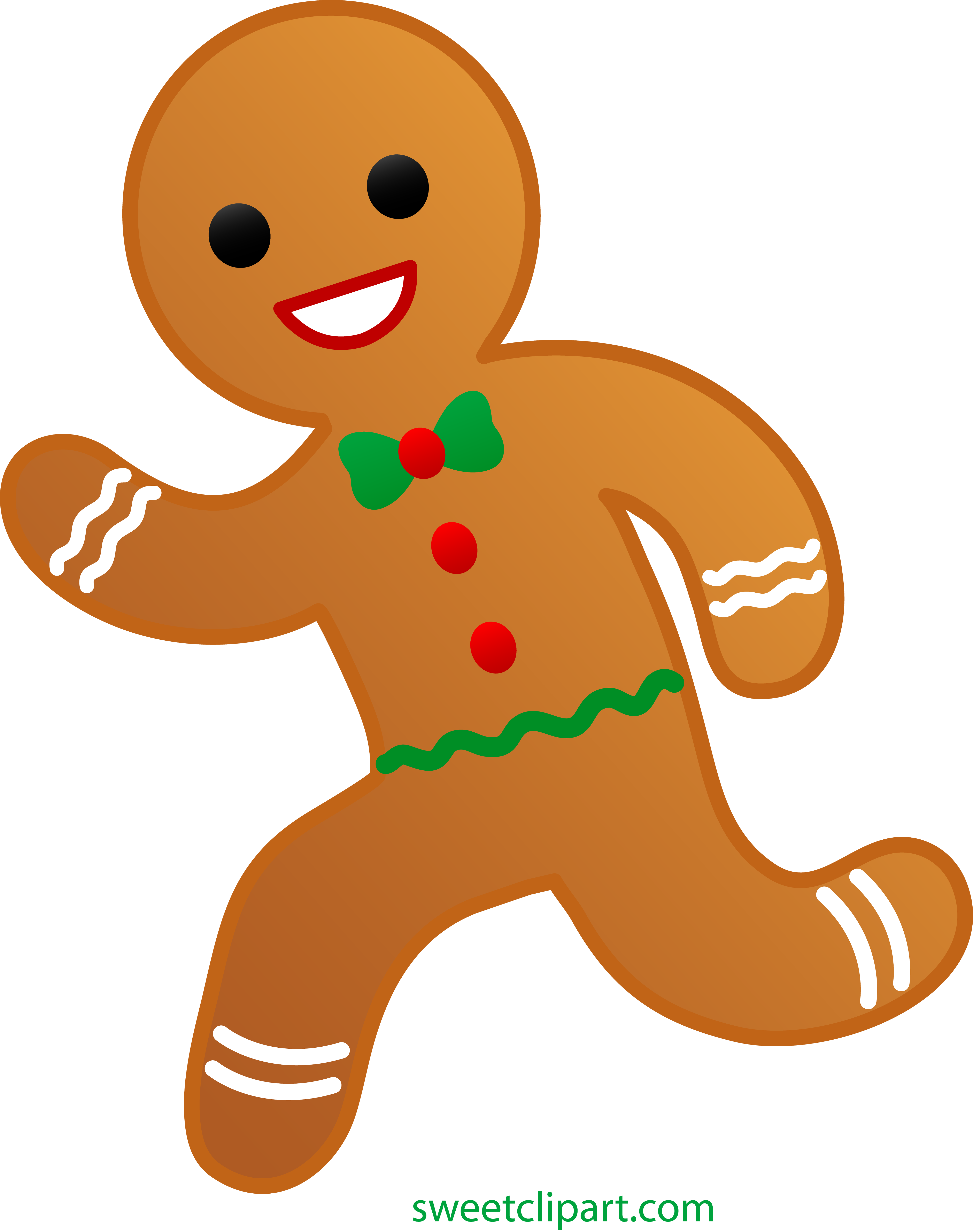 Gingerbread cookie clipart vector black and white download Gingerbread Man Running Away - Free Clip Art vector black and white download