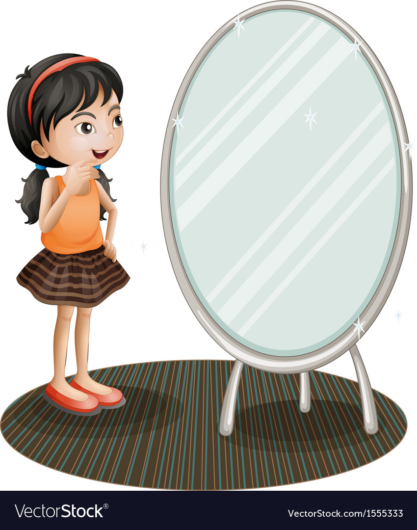 Cartoon girl in mirror clipart image freeuse A girl facing the mirror image freeuse