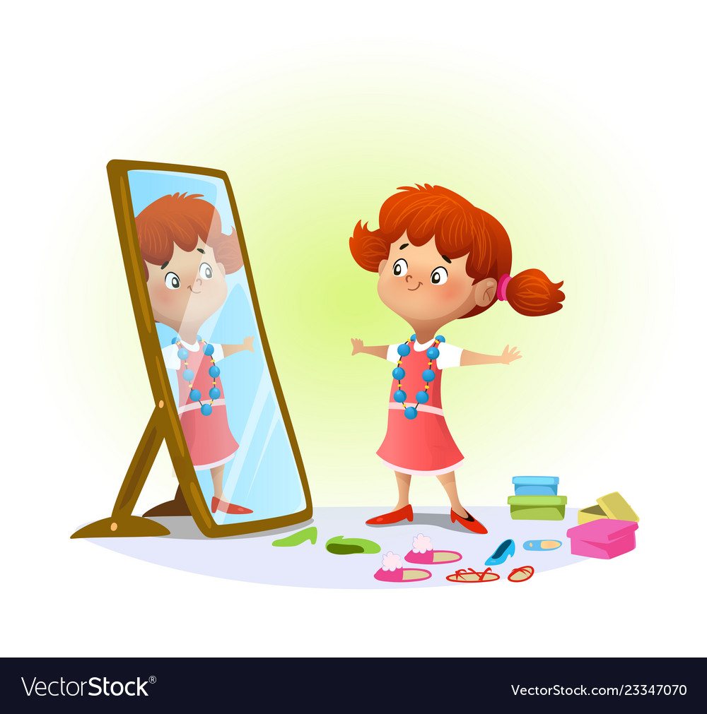 Cartoon girl in mirror clipart clip free stock Cute little girl looking in the mirror clip free stock