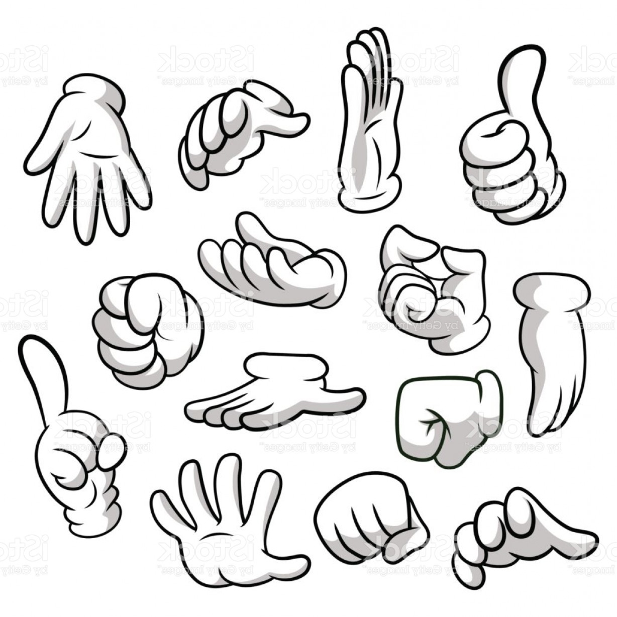 Cartoon hands clipart clip library library Cartoon Hands With Gloves Icon Set Isolated On White Background ... clip library library