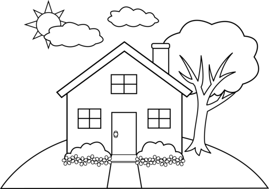 Cartoon hill outline clipart graphic black and white library Cute Colorable House on a Hill | Applique designs | House colouring ... graphic black and white library