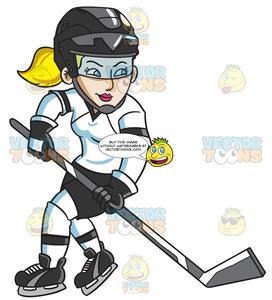 Cartoon hockey player clipart clip freeuse stock A Female Hockey Player Swirls Into The Ice Rink clip freeuse stock