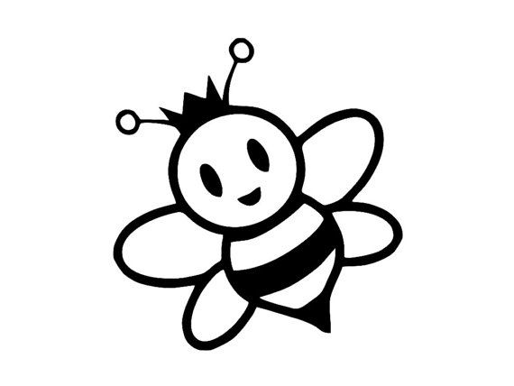 Cartoon honey bee clipart black and white picture library Pin by Elaine Tetzloff on Ink! | Bee coloring pages, Cartoon bee ... picture library