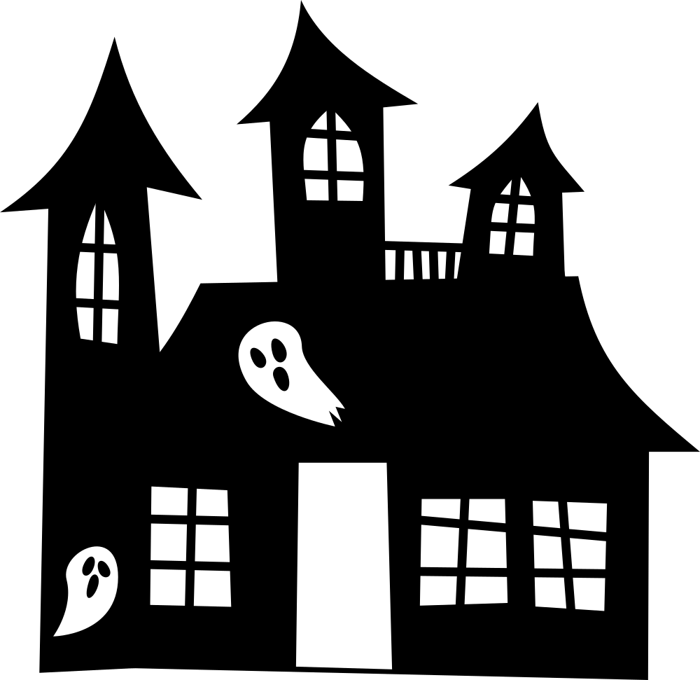 Cartoon house silhouette clipart black and white stock OnlineLabels Clip Art - Haunted House Silhouette black and white stock