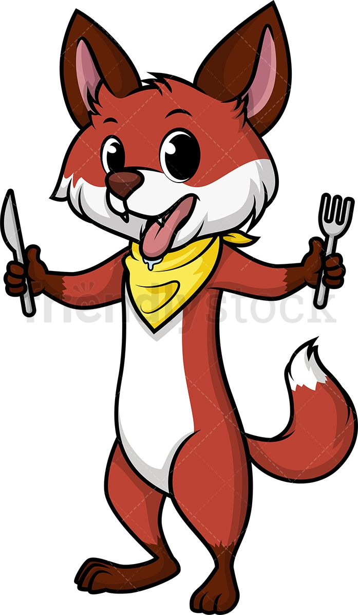 Cartoon hungry clipart png library Hungry Fox in 2019 | Food & Drink Clipart | Free vector illustration ... png library