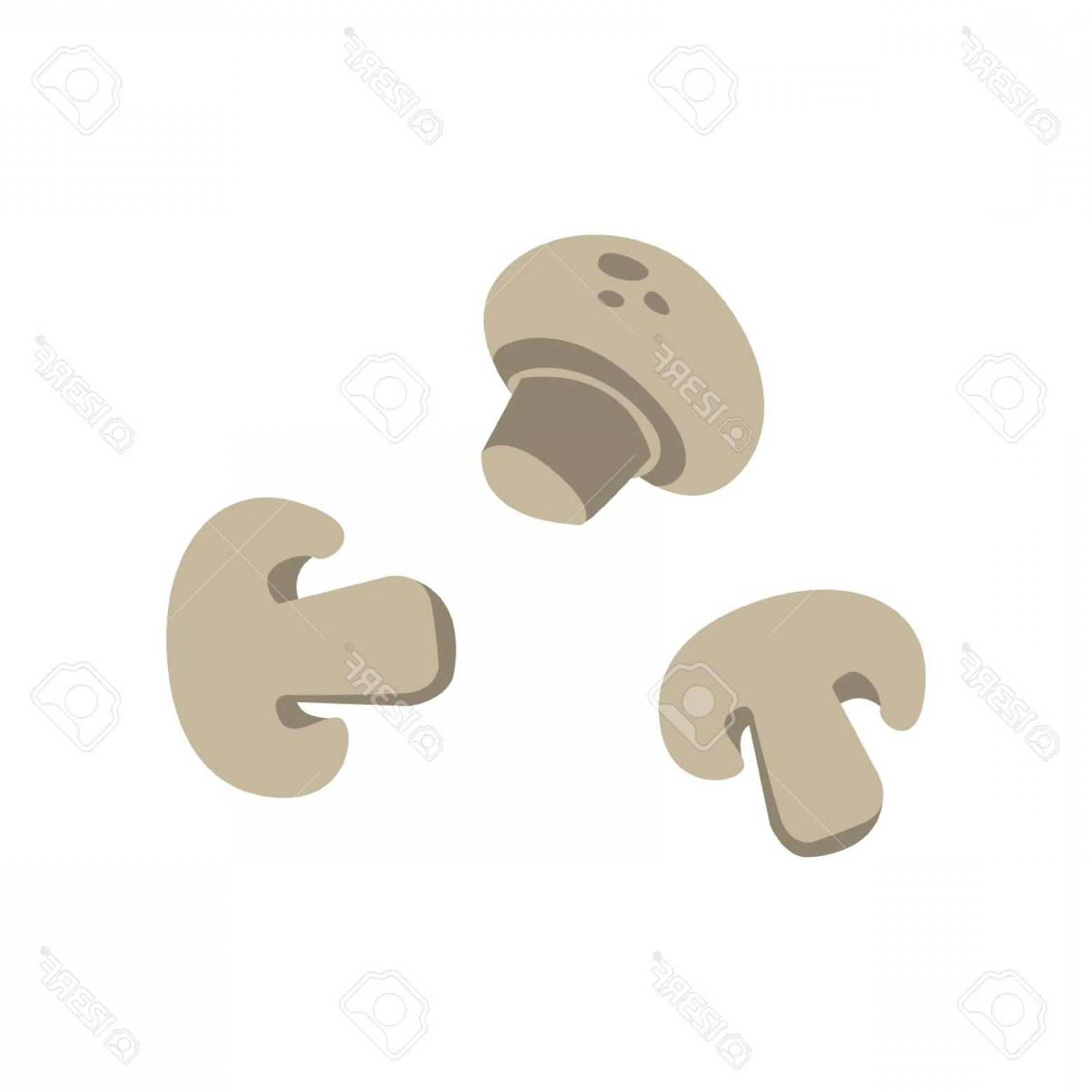 Cartoon icon clipart picture free Photostock Vector Three Sliced Mushrooms Primitive Cartoon Icon Part ... picture free