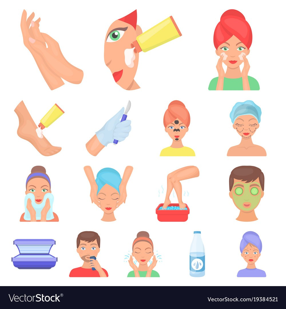 Skin care cartoon icons in set collection for design. Face and body ... png free download
