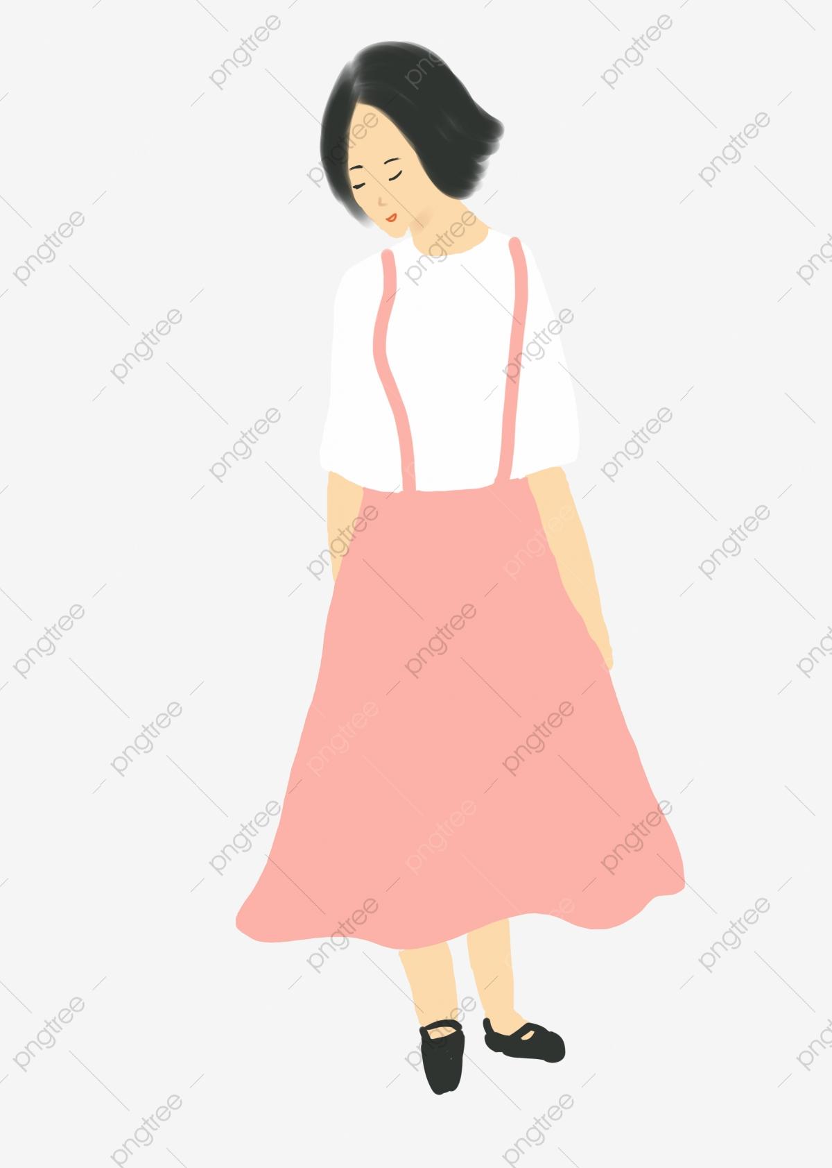Pink Skirt Girl In Pink Dress Short Hair Girl Lovely, Bow Down ... svg transparent