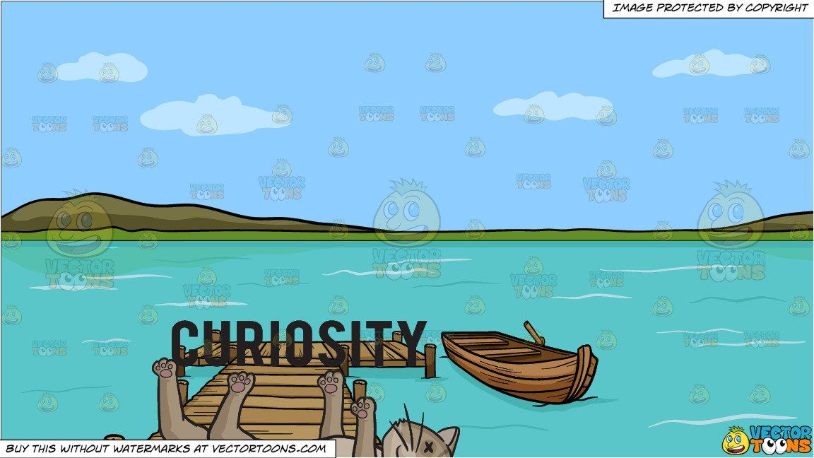Cartoon lake clipart black and white clipart #cartoon Curiosity Killed The Cat and A Long Wooden Dock On ... black and white