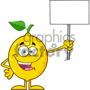 Cartoon lemon clipart jpg black and white library Royalty Free RF Clipart Illustration Happy Yellow Lemon Fresh Fruit With  Green Leaf Cartoon Mascot Character Holding A Blank Sign Vector  Illustration ... jpg black and white library