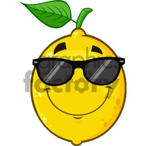 Cartoon lemon clipart image Royalty Free RF Clipart Illustration Smiling Yellow Lemon Fruit Cartoon  Emoji Face Character With Sunglasses Vector Illustration Isolated On White  ... image