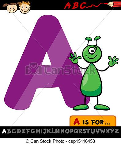 Cartoon letters clip art clip library Clipart Vector of letter a with alien cartoon illustration ... clip library