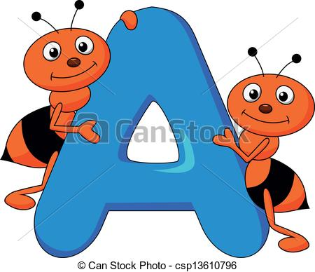 Cartoon letters clip art vector royalty free download EPS Vectors of Alphabet A with ant cartoon - Vector illustration ... vector royalty free download