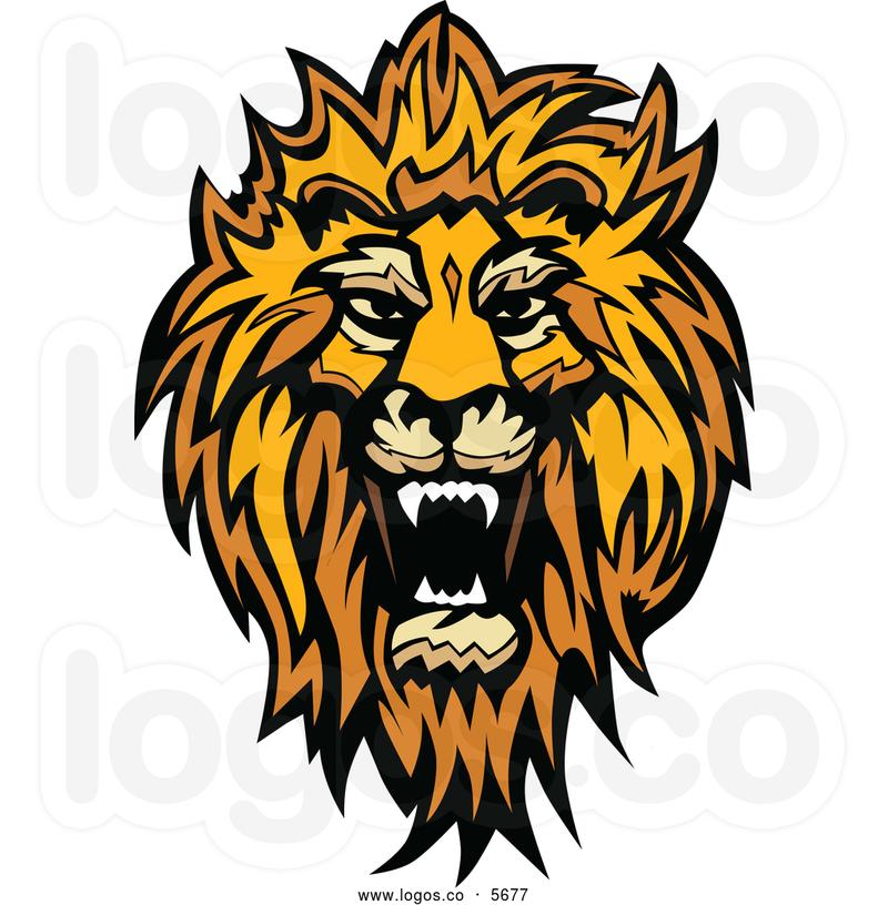 Cartoon lion head roaring facing the right clipart