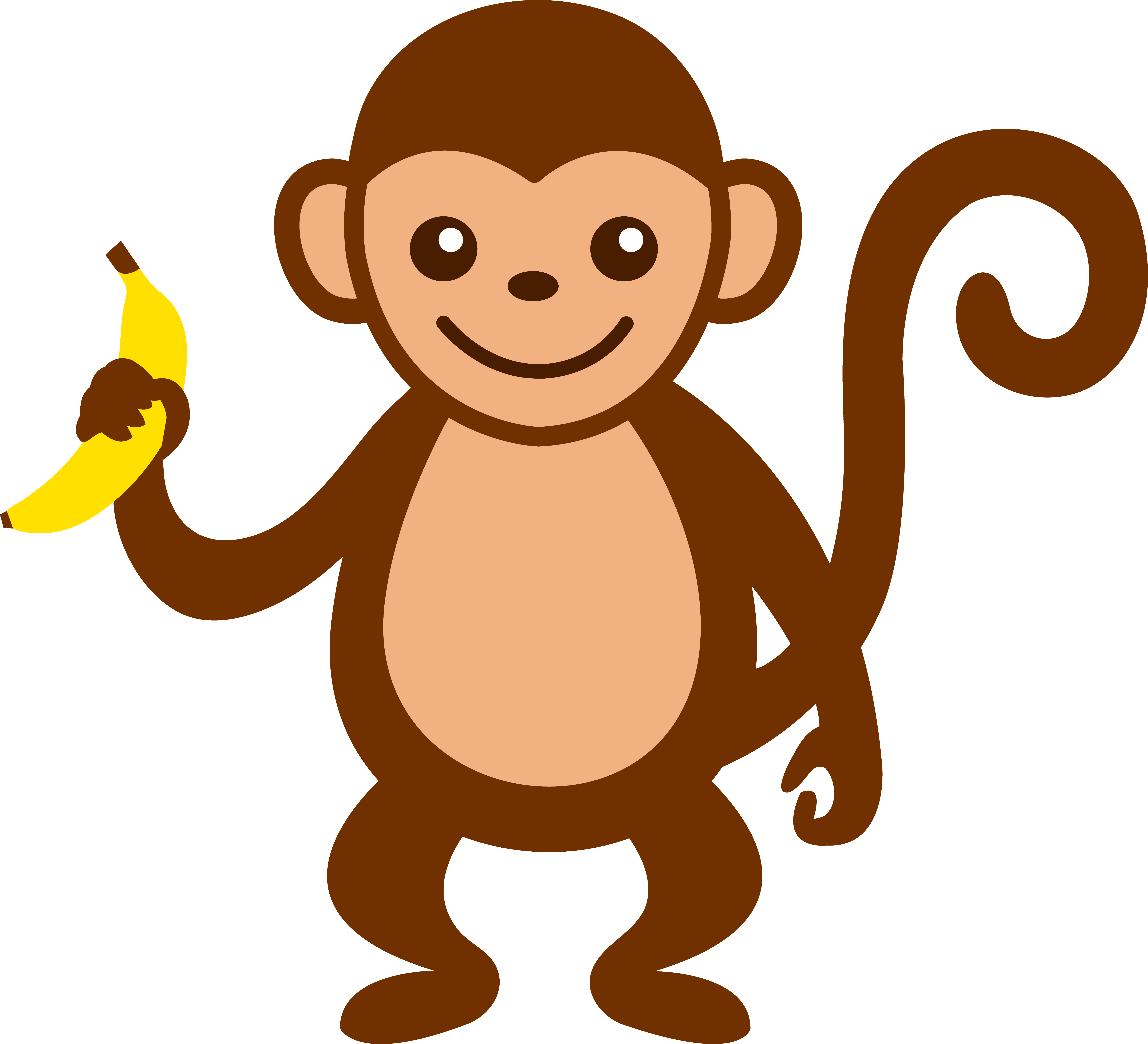 Monkey in tree clipart picture transparent library cartoon monkey clip art | Cute Monkey With Banana - Free Clip Art ... picture transparent library