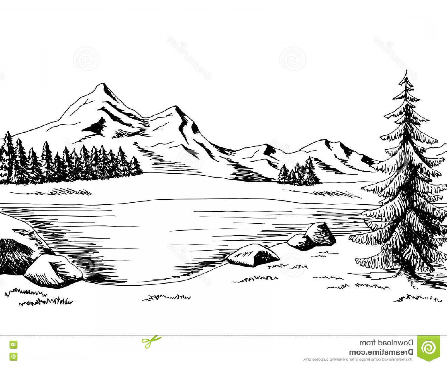 Cartoon mountain lake and tree clipart black and white picture royalty free Stock Illustration Mountain Lake Graphic Art Black White Landscape ... picture royalty free