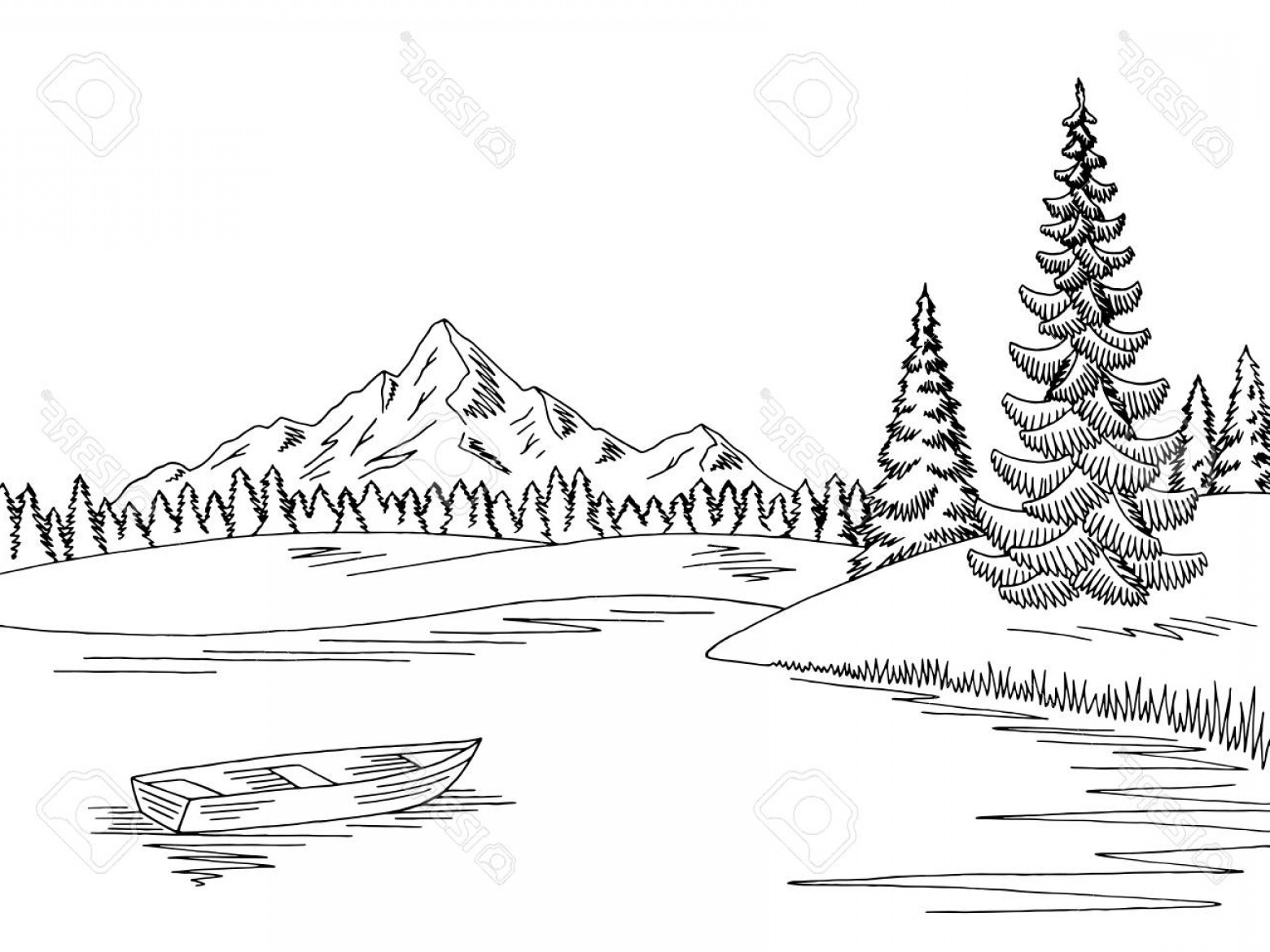 Cartoon mountain lake and tree clipart black and white picture royalty free download Photostock Vector Mountain Lake Graphic Black White Landscape Sketch ... picture royalty free download