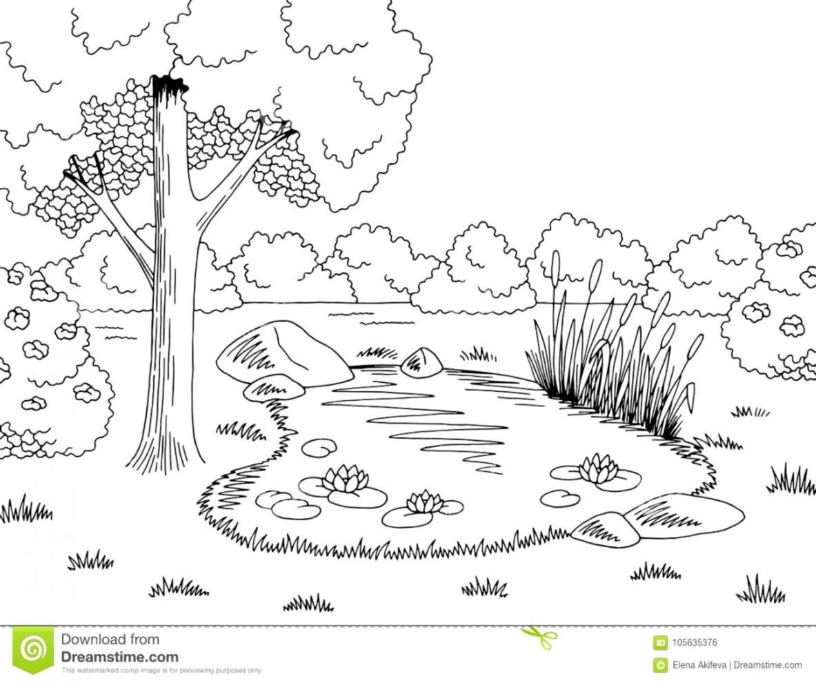 Cartoon mountain lake and tree clipart black and white picture Lake Clipart Black And White | Wallpapers Inspire picture