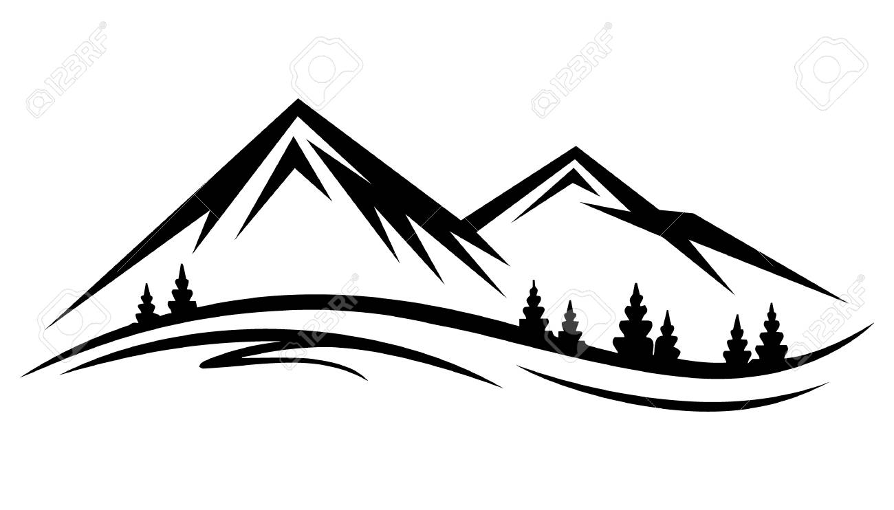 Cartoon mountain lake and tree clipart black and white png transparent download Mountain Black And White Drawing | Free download best Mountain Black ... png transparent download