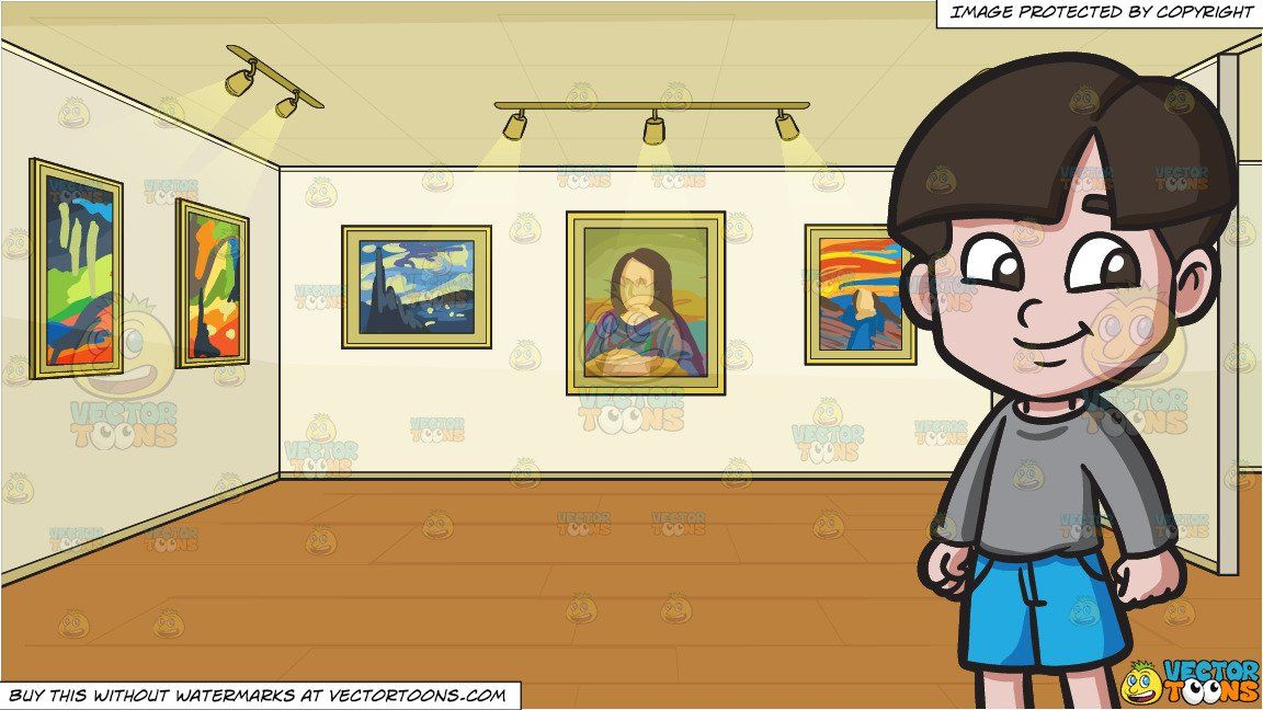 Cartoon museum clipart banner royalty free stock clipart #cartoon A Happy Young Boy and A Painting Exhibit In A ... banner royalty free stock