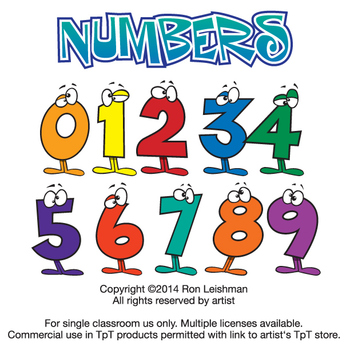 Cartoon numbers clipart image black and white stock Wacky Cartoon Numbers Clipart image black and white stock