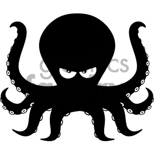Cartoon octopus clipart graphic freeuse download Royalty Free RF Clipart Illustration Angry Black Silhouettes Of Octopus  Cartoon Mascot Character Vector Illustration Isolated On White Background  ... graphic freeuse download