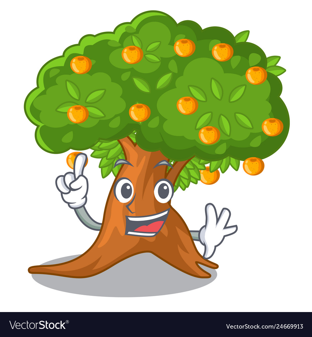 Finger cartoon orange tree in the yard image transparent stock