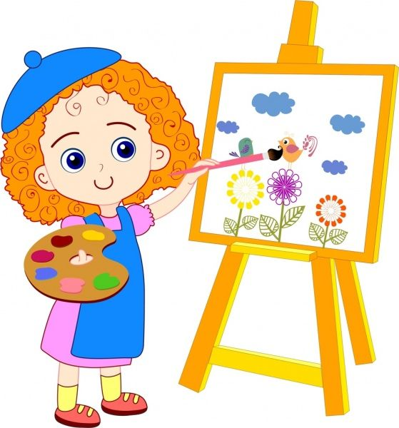 Cartoon painting clipart jpg transparent library Cartoon Painting For Kids painting girl drawing colored cartoon cute ... jpg transparent library