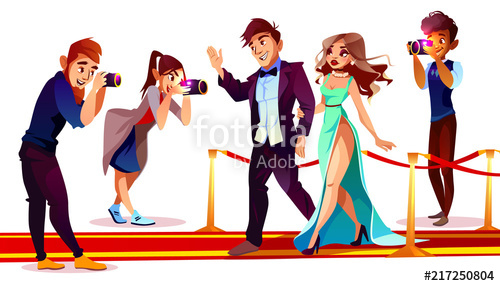 Cartoon papapparzi clipart graphic transparent Vector cartoon couple of famous celebrities on red carpet with ... graphic transparent