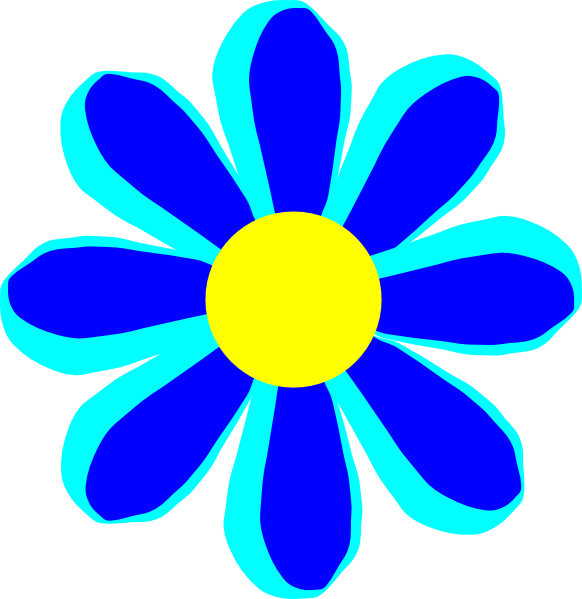 Flower cartoon clipart. Small flowers clipartfest blue
