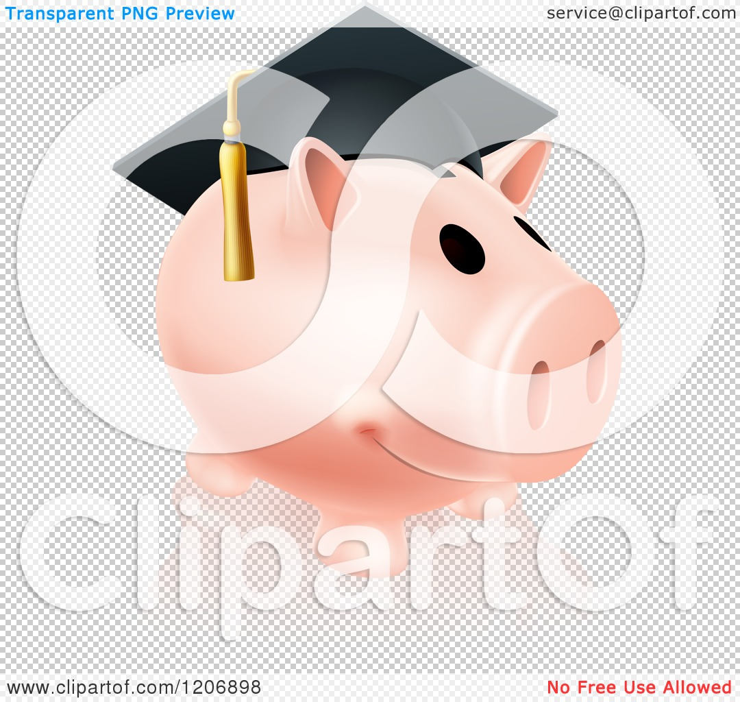 Cartoon piggy bank clipart clip library Cartoon of a Pink Graduation Piggy Bank Wearing a Mortar Board ... clip library