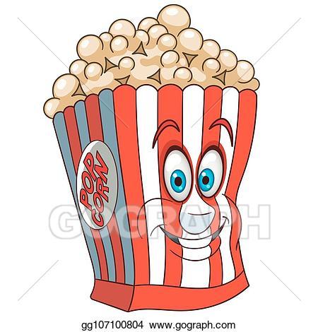 Cartoon popcorn clipart jpg free stock Vector Stock - Cartoon popcorn bucket. Clipart Illustration ... jpg free stock