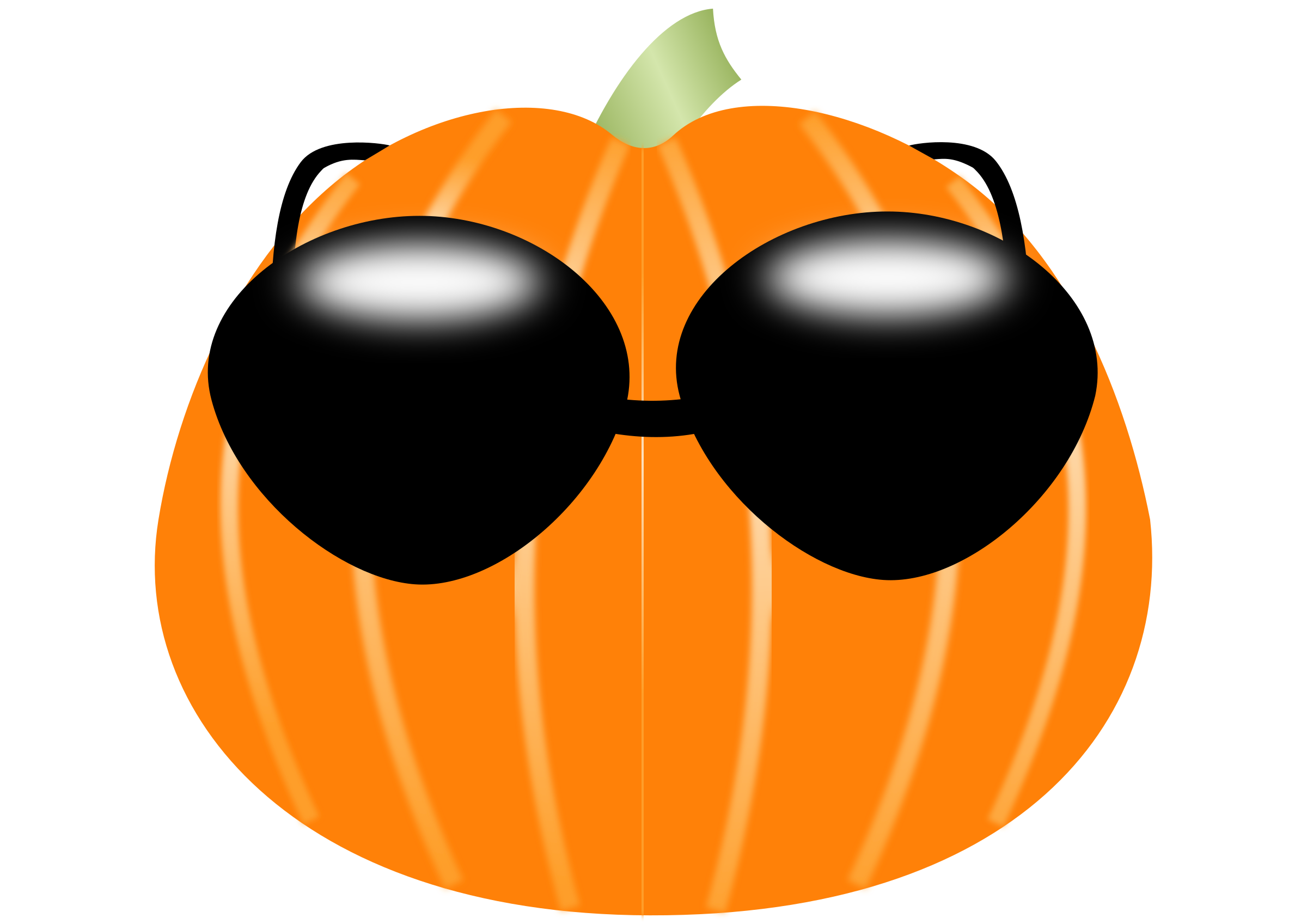 Free pumpkin face clipart clip black and white Clipart - Pumpkin wearing sunglasses clip black and white