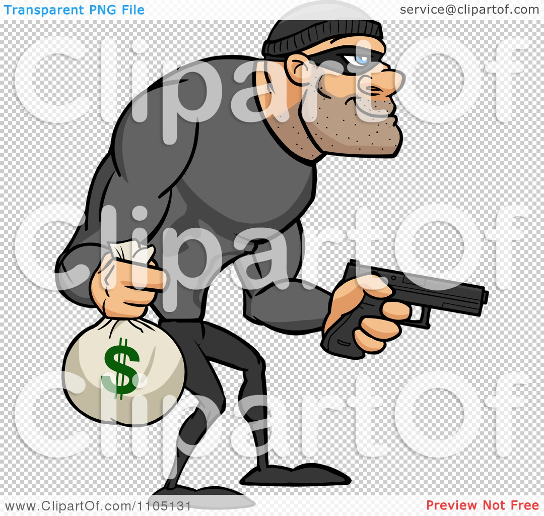 Cartoon robber clipart png transparent stock Clipart Buff Bank Robber Carrying A Money Bag And Pistol - Royalty ... png transparent stock