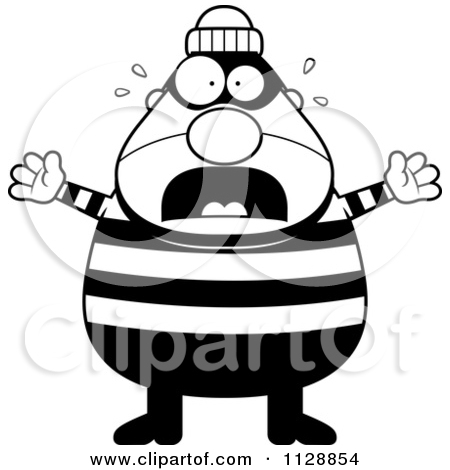 Cartoon robber clipart jpg transparent download Cartoon Of A Black And White Scared Chubby Burglar Or Robber Man ... jpg transparent download