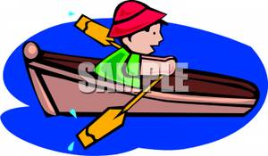 Colorful Cartoon of a Boy Rowing a Rowboat - Royalty Free Clipart ... black and white