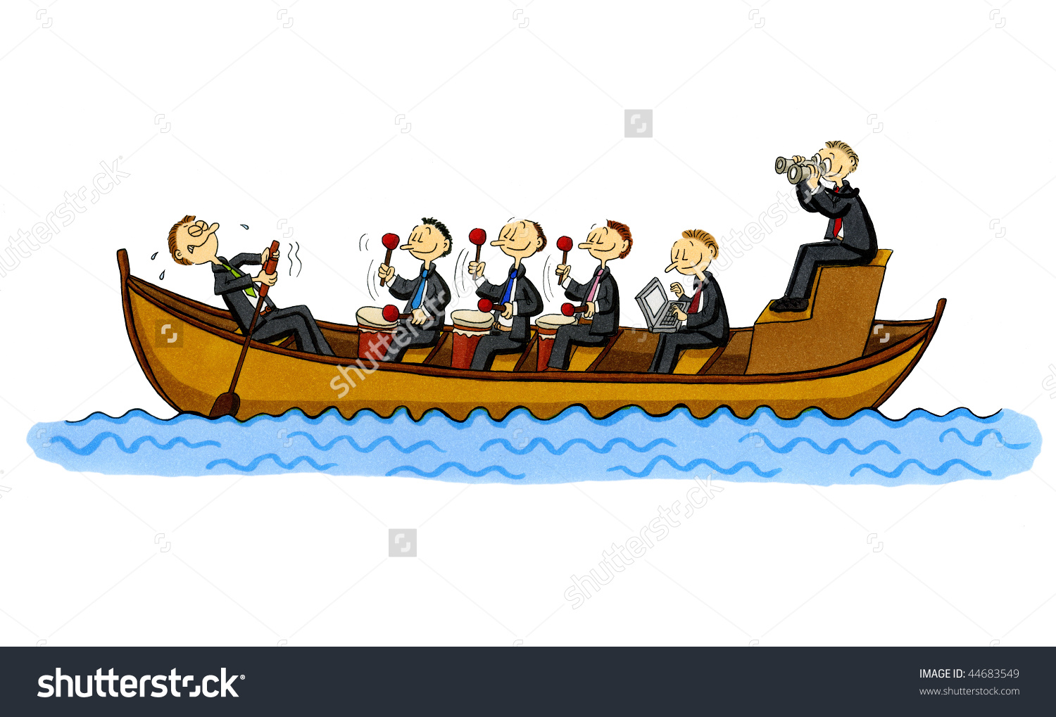 Funny Cartoon Rowboat Single Rowing Employee Stock Illustration ... svg library stock
