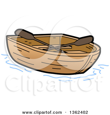 Clipart of a Cartoon Empty Wooden Row Boat - Royalty Free Vector ... png free library
