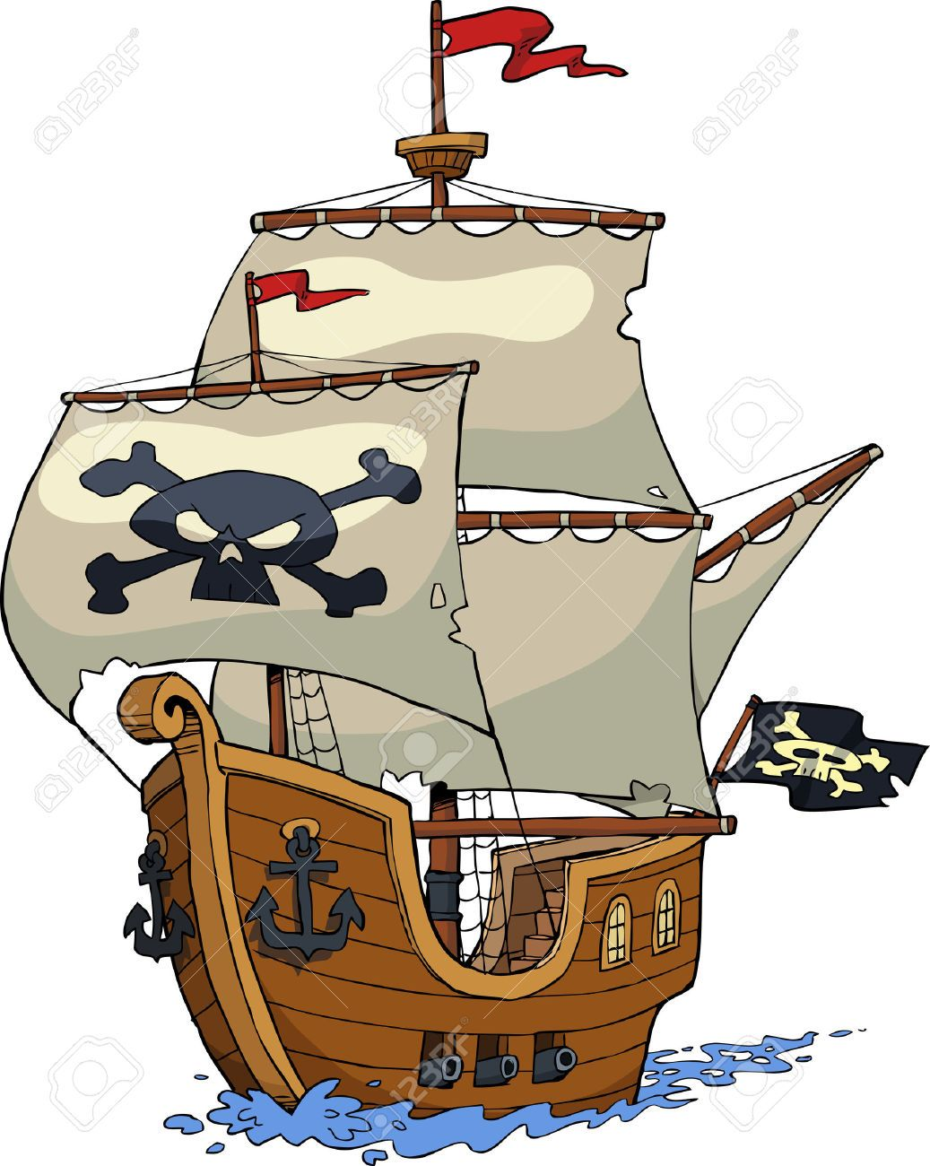 Cartoon sailing ship clipart graphic free download Image result for pirate ship cartoon background | ship concept ... graphic free download