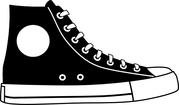 Cartoon shoe clipart clipart black and white stock tennis shoe clip art black and white | Black Hightop Shoe clip art ... clipart black and white stock