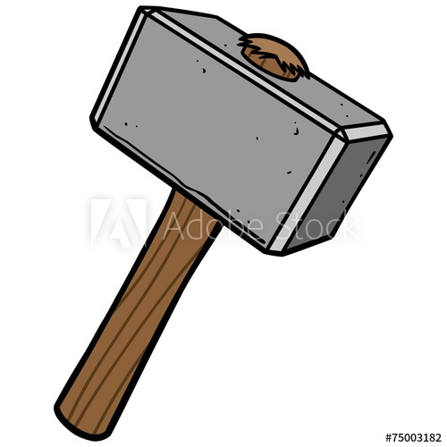Cartoon sledgehammer hitting block of wood clipart png freeuse Sledgehammer Posters & Wall Art Prints | Buy Online at EuroPosters png freeuse