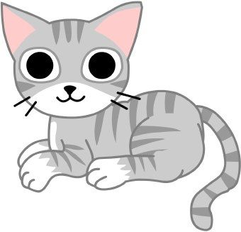 Clip art of a grey and white pet tabby cat kitten with large round ... image transparent library